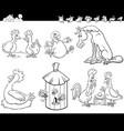 cartoon farm animals set coloring book page vector image vector image