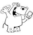 cartoon rhinoceros holding a cell phone vector image vector image