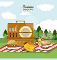 colorful poster of summer picnic with outdoor vector image vector image