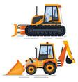 construction machinery bulldozer automobile set vector image vector image