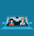 couple driving blue car man and vector image vector image
