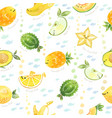 cute fruits mix fish characters seamless pattern vector image