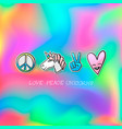 cute patches badge love peace unicorns vector image vector image