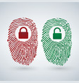 fingerprint with lock unlock in red and green vector image