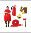 firefighter set isolated emergency items on white vector image vector image