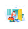 flat man waiting trip and looks at watch with bags vector image vector image