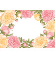 floral frame with peony flowers vector image vector image