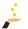 gold coins in hand charity donate concept vector image