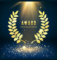 golden shiny award sign laurel wreath on dark vector image vector image