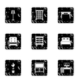 Home furnishings icons set grunge style vector image vector image