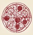 italian pizza pizza design template hand drawn vector image vector image