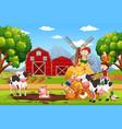kids and animals at farmland vector image