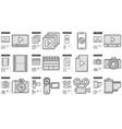 Media line icon set vector image