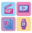 multimedia set icons technology network and vector image vector image
