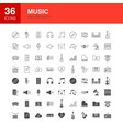 music line web glyph icons vector image