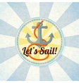 Nautical summer badge with anchor and rope vector image vector image