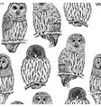 owl sketch seamless pattern hand drawn vector image