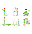 people taking part in environmental protection set vector image vector image