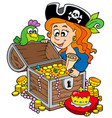 pirate woman opening treasure chest vector image