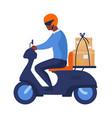 postman riding motorbike city transport man vector image