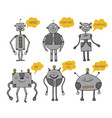 robots set bots say artificial intelligence vector image
