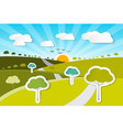 Rural Paper Nature Background with Trees Clouds vector image