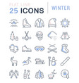 set flat line icons winter vector image