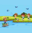 set of children fishing in river vector image