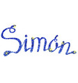 simon name lettering tinsels vector image vector image