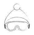ski googles and hat vector image vector image