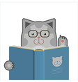 Smart cat with book vector image