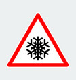snowflake warning triangle road sign vector image