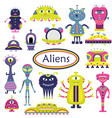 the cartoon set with flat aliens funny characters vector image