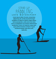 two men with stand up paddle boards and p vector image vector image