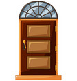 wooden door with glass on top vector image vector image