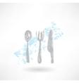 Grey cutlery grunge icon vector image