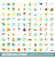 100 biology icons set cartoon style vector image vector image