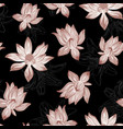 abstract lotus seamless black background vector image vector image