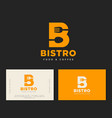 b letter bistro cafe logo yellow identity vector image vector image