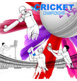 Batsman playing cricket championship vector image
