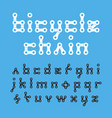 bicycle chain flat style lowercase font vector image vector image