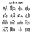 building icon set in thin line style vector image