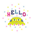 cartoon flat greeting card with a funny alien vector image vector image