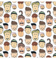 cartoon seamless pattern with of peoples faces vector image vector image