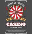 casino poker game wheel of fortune gambling vector image vector image