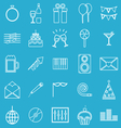 Celebration line icons on blue background vector image vector image