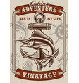 colour vintage poster on nautical theme vector image vector image