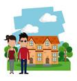 couple casual house garden vector image vector image