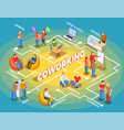 coworking people isometric flowchart vector image vector image
