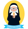 emblem of an old christian nun praying vector image vector image